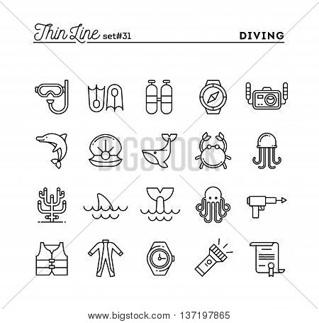 Scuba diving underwater animals equipment certificate and more thin line icons set vector illustration