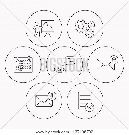 Mail, presentation and meeting chat bubbles icons. E-mail linear sign. Check file, calendar and cogwheel icons. Vector