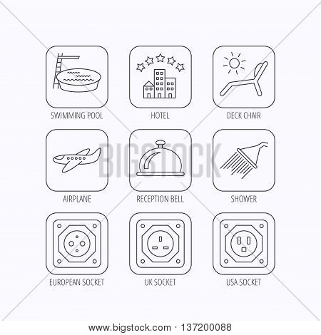 Hotel, swimming pool and beach deck chair icons. Reception bell, shower and airplane linear signs. European, UK and USA socket icons. Flat linear icons in squares on white background. Vector