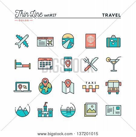 Travel flight accommodation destination booking and more thin line color icons set vector illustration
