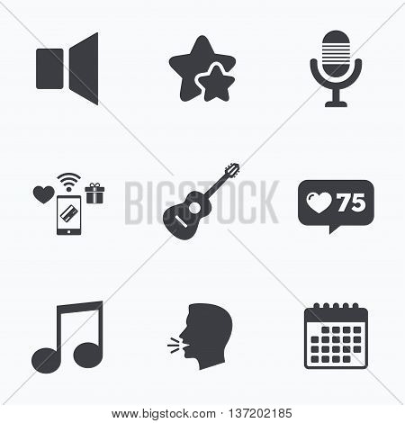 Musical elements icons. Microphone and Sound speaker symbols. Music note and acoustic guitar signs. Flat talking head, calendar icons. Stars, like counter icons. Vector