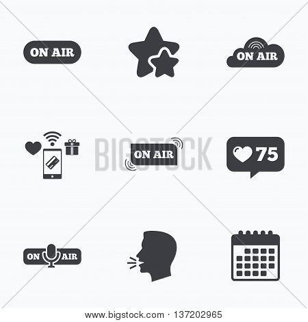 On air icons. Live stream signs. Microphone symbol. Flat talking head, calendar icons. Stars, like counter icons. Vector