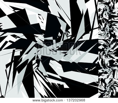 Abstract Edgy Background(s). Monochrome Geometric Image With Scattered, Random Overlapping Edgy Shap
