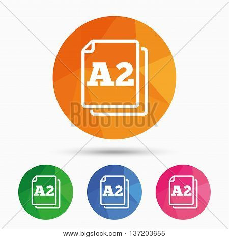 Paper size A2 standard icon. File document symbol. Triangular low poly button with flat icon. Vector