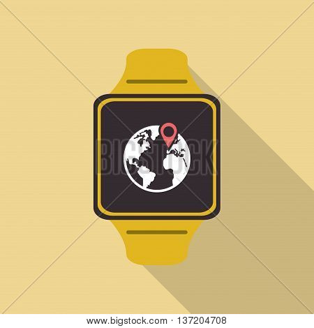 Wearable technology concept represented by watch icon. Colorfull and flat illustration. Pastel background