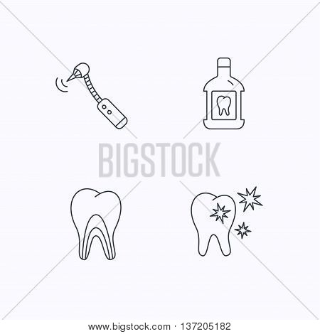 Tooth, mouthwash and dentinal tubules icons. Healthy teeth, dentinal tubules linear sign. Flat linear icons on white background. Vector