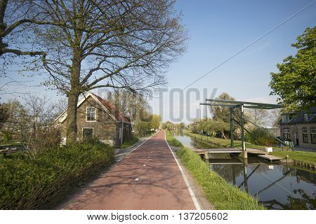 Drawbridge over a Canal and Cycle Path in Maasland the Netherlands