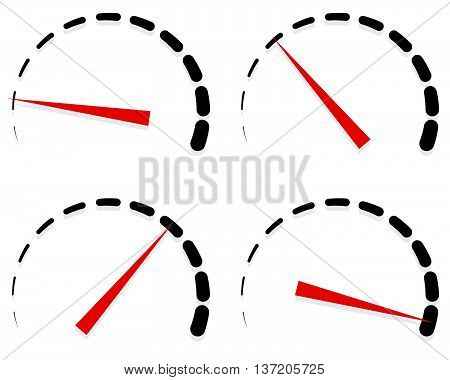 Dial, Meter Templates With Red Need And Units Set At 4 Stages, Levels. Generic Indicator, Measuremen