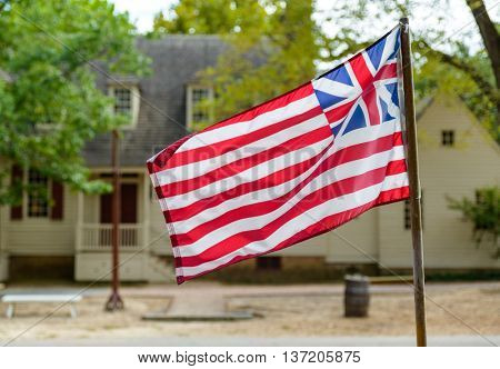 Grand Union Flag in Williamsburg, Virginia, USA