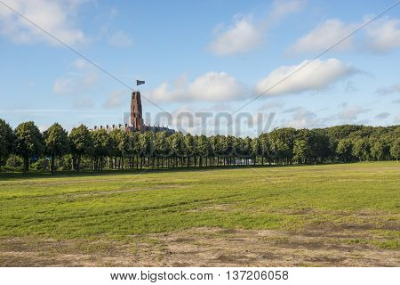 Overview of City Park Malieveld in the Hague the Netherlands with Building de Rode Olifant on the Background