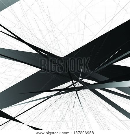 Abstract Edgy, Geometric Vector Art, Monochrome Angular Illustration With Random, Chaotic Overlappin