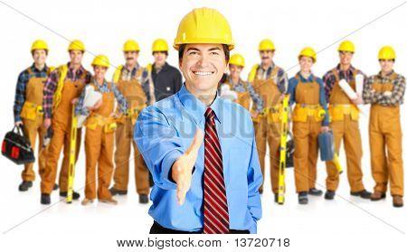 Industrielle Auftragnehmer beschäftigten Menschen. Isolated over white background