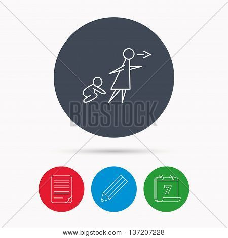 Unattended baby icon. Babysitting care sign. Do not leave your child alone symbol. Calendar, pencil or edit and document file signs. Vector