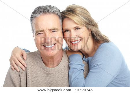Seniors couple in love. Isolated over white background poster