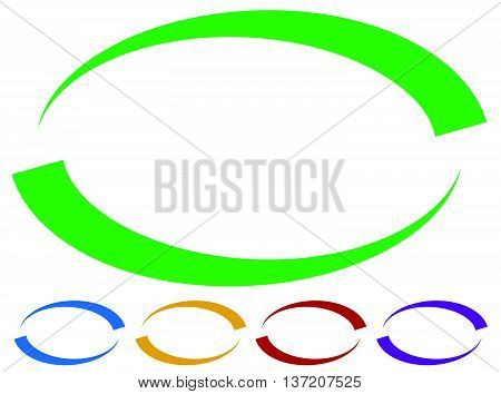 Oval Frames - Borders In Five Colors. Colorful Design Elements.