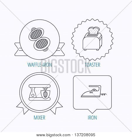 Iron, toaster and blender icons. Waffle-iron linear sign. Award medal, star label and speech bubble designs. Vector