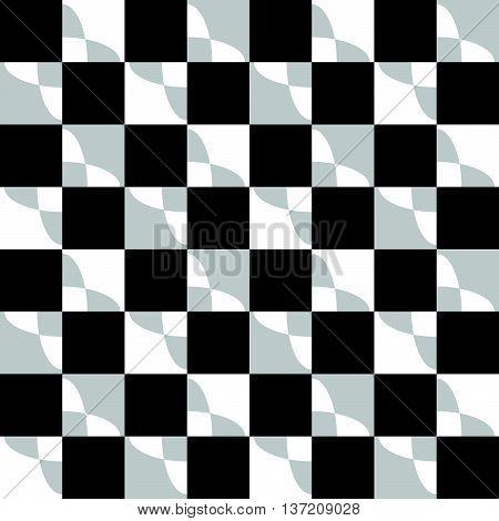 Geometric Pattern With Ripple, Wavy Distortion, Warp Effect. Abstract Monochrome Texture / Backgroun