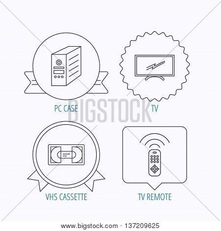 TV remote, VHS cassette and PC case icons. Widescreen TV linear sign. Award medal, star label and speech bubble designs. Vector
