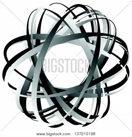 Random Circular Element. Abstract Monochrome Graphic On White.