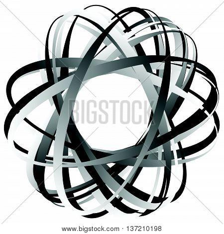 Random Circular Element. Abstract Monochrome Graphic On White.