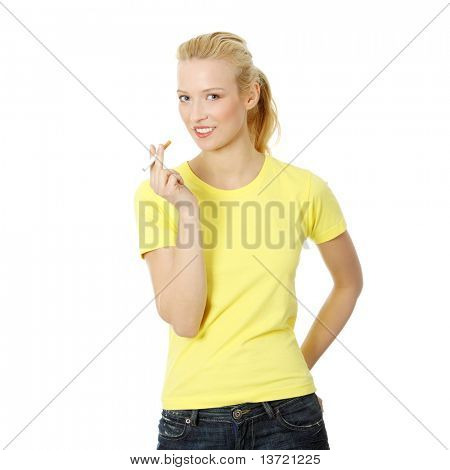 Young woman smoking electronic cigarette (e cigarette), isolated on white