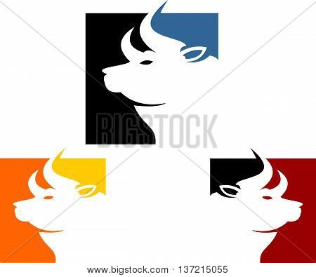 stock logo abstract bull on cube icon