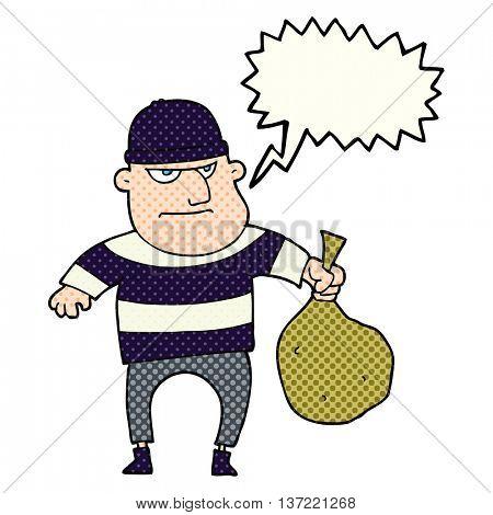 freehand drawn comic book speech bubble cartoon burglar with loot bag