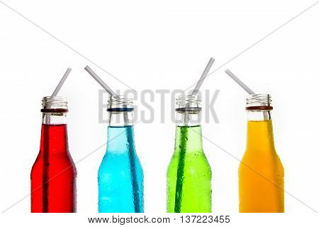 close up the cool colorful drink bottles glass