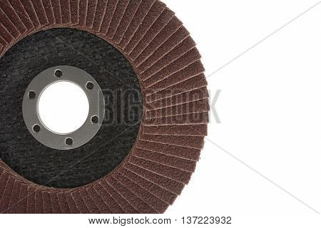 red color flap abrasive disc isolated on white