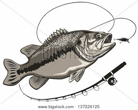 Bass Fishing Rod Vector Photo Free Trial Bigstock