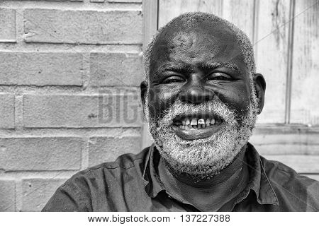 Baltimore, Usa - June 21 2016 - A Black Old Homeless Man In Baltimore