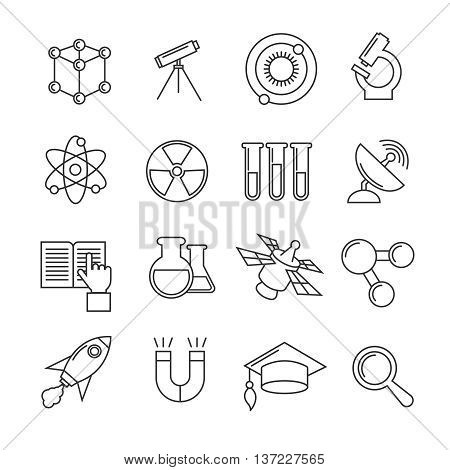 Science vector thin line icons set. Research and study science, radioactive science icons of set illustration