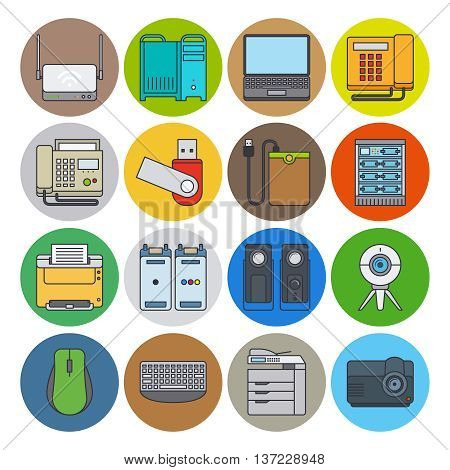 Electronic devices flat line icons. Web camera and laptop, projector and printer vector icons