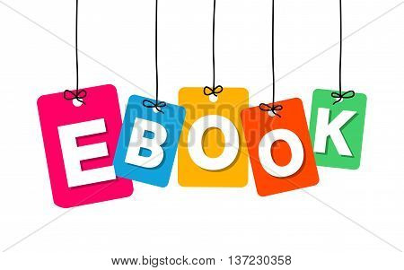 Vector colorful hanging cardboard. Tags - ebook on white background