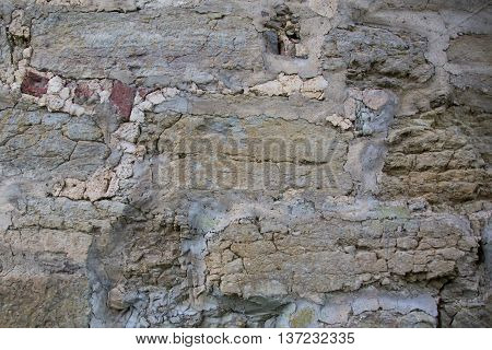 Wall of medieval fortress in Leningrad region, Russia