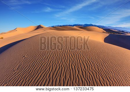Bright sunny morning in a picturesque part of Death Valley. Thin waves on the sand. Mesquite Flat Sand Dunes