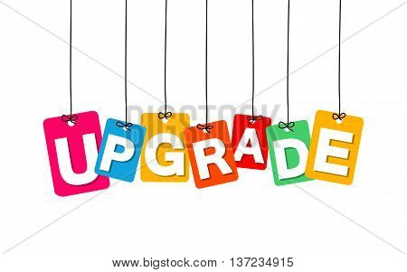 Vector colorful hanging cardboard. Tags - upgrade on white background