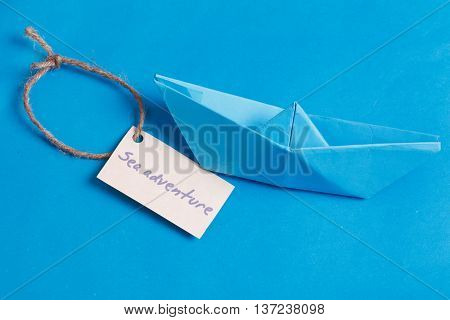 Label With The Words Sea Aventure Which Means Go To Trip On The Yacht