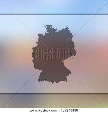 Germany map on blurred background. Blurred background with silhouette of Germany. Germany.