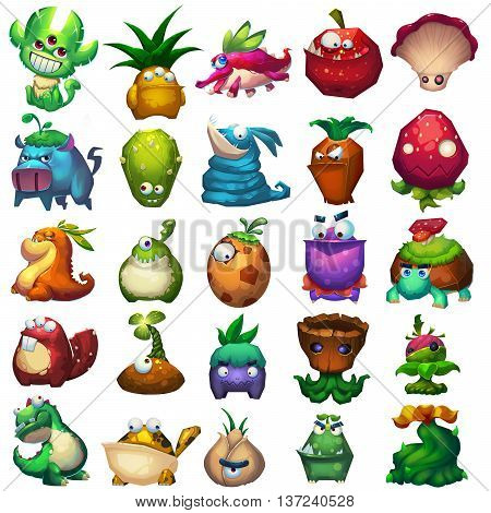 25 Achievements and Icons Set. Video Game Assets, Objects; Story Book, Card Illustration Pieces isolated on White Background