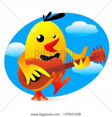 Vector illustration of a yellow funny bird playing guitar
