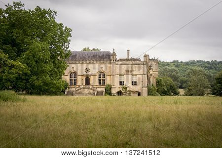 LACOCK ABBEY, LACOCK, WILTSHIRE, UK, 21 JUNE 2016 - External view of Lacock Abbey former home of the photography pioneer; William Henry Fox Talbot in the village of Lacock Wiltshire UK