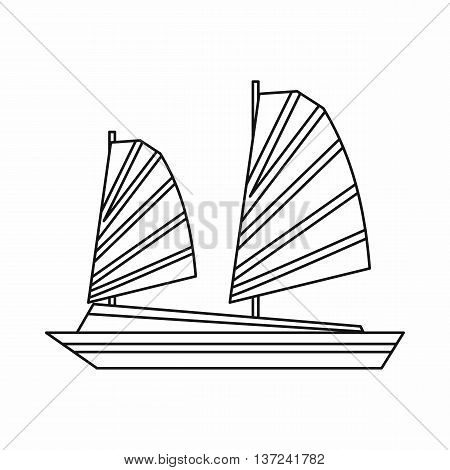 Vietnamese junk boat icon in outline style isolated vector illustration. Shipbuilding symbol