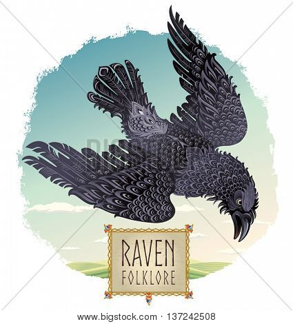 Flying raven against the landscape, illustration in the decorative folk style, with ornament frame.