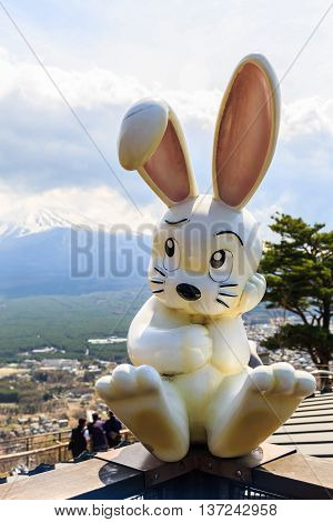 Tokyo Japan - April 11 2016: Rabbit dolls at Mount Tenjoyama or Mount Kachi kachi yama. Landmark see of Mount Fuji and Lake Kawaguchiko. Japan.