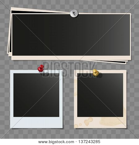 Photo polaroid frames on wall attached with pins. Retro wide dirty photo vector set isolated on white background. Wide pile of pinned frames.
