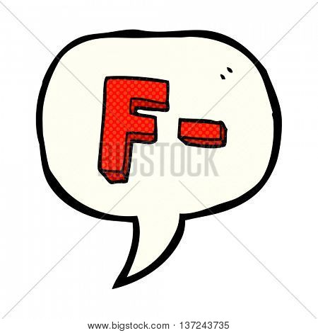 freehand drawn comic book speech bubble cartoon F grade