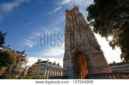 Tour Saint-Jacques at dawn in city Paris, France