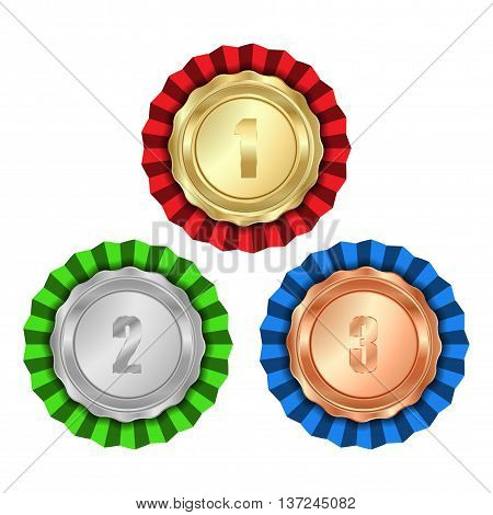 Vector medals gold silver bronze with rosette of red green and blue ribbon