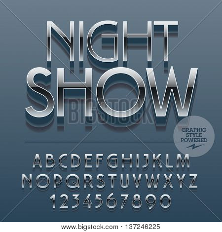Set of slim reflective alphabet letters, numbers and punctuation symbols. Vector icon with text Night show. File contains graphic styles